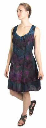 Sakkas 181503 - Luciana Women's Tie Dye Bohemian Swing Midi Dress with Ties and Smock Back - Fuchsia/Turq - 1X/2X