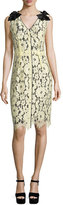 Marc Jacobs Sleeveless Lace-Overlay Sheath Dress, Pale Yellow