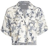 Frame Mixed Toile Silk Button-Up Top