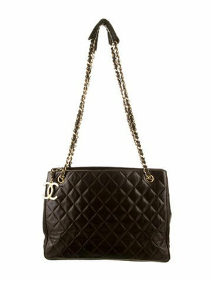 Chanel Vintage Leather Chain Tote Brown