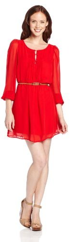 My Michelle Sequin Hearts by Juniors Chiffon Dress with Belt