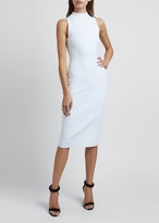 Alaia Mock-Neck Sleeveless Bodycon Below-Knee Dress