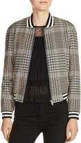 Maje Houndstooth Plaid Bomber Jacket
