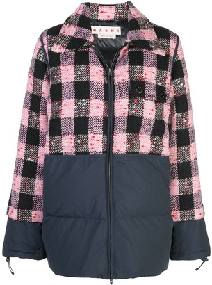 Marni Bi-Material Checked Quilted Jacket