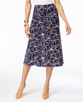 JM Collection Petite Floral-Print Jacquard A-Line Skirt, Only at Macy's