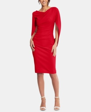 Betsy & Adam Caped Sheath Dress