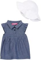 Isaac Mizrahi Chambray Dress & Eyelet Lace Sunhat Set (Baby Girls 12-24M)