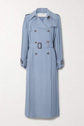 Valentino Pleated Silk-crepe Trench Coat - Blue