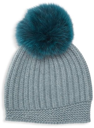 Raffaello Bettini Fur Pom Pom English Stitch Cashmere Beanie