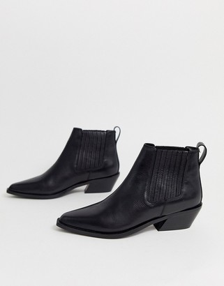 ASOS DESIGN Adelaide leather western chelsea boots in black