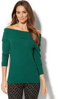 New York & Co. 7th Avenue - Off-The-Shoulder Ribbed-Knit Sweater