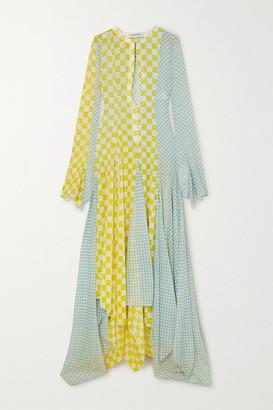 Lanvin Asymmetric Checked Silk-chiffon Gown - Yellow
