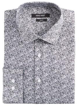 Nine West Men's Slim-Fit Wrinkle-Free Performance Stretch White & Black Floral Print Dress Shirt
