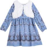 Marmellata Border Long Sleeve Print With Faux Fur Vest Dress - Baby Girls