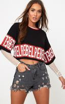 PrettyLittleThing Black REBEL Slogan Oversized Cropped T-Shirt