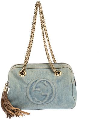Gucci Blue Denim Medium Soho Chain Shoulder Bag
