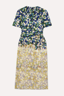 Rokh Cutout Bleached Floral-print Silk-crepe Dress - Yellow