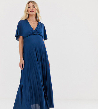 ASOS DESIGN Maternity cape back detail pleated maxi dress