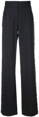 Monse Wide-Leg Plaid Trim Trousers