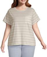 Arizona Juniors Plus-Womens Round Neck Short Sleeve T-Shirt