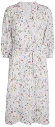 120% Lino Floral Midi Dress