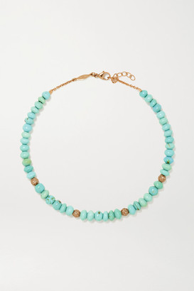 Jacquie Aiche 14-karat Gold, Turquoise And Diamond Anklet - one size