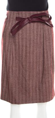 Escada Burgundy Herringbone Wool and Silk Knotted Leather Belt Detail Skirt M