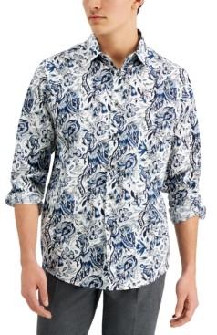Tasso Elba Men's Stretch Paisley Poplin Shirt, Created for Macy's