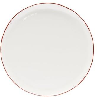 Feldspar - Painted-rim Fine China Dinner Plate - Red White