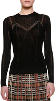 Bottega Veneta Long-Sleeve Embellished-Yoke Top, Black/Barolo
