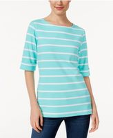 Karen Scott Striped Boat-Neck Top, Only at Macy's