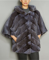 The Fur Vault Mink Fur Hooded Chevron Jacket