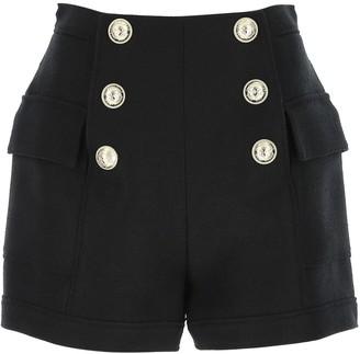Balmain High Waist Buttoned Flap Shorts
