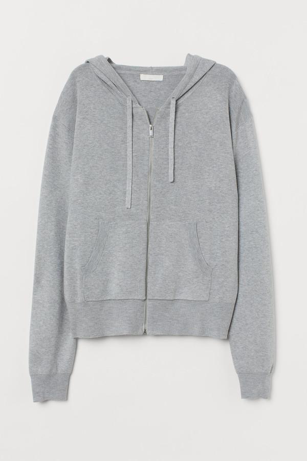 H&M Fine-knit hooded jacket