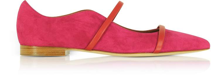 Malone Souliers by Roy Luwolt Maureen Red Suede and Cherry Nappa Flat Pumps