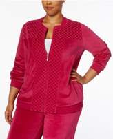 Alfred Dunner Plus Size Quilted Velour Jacket