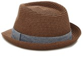 Forever 21 FOREVER 21+ Men Chambray Band Straw Fedora