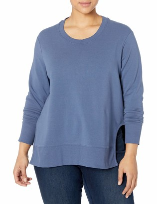 Daily Ritual Amazon Brand Women's Plus Size Terry Cotton and Modal Pullover With Side Cutouts 4X Indigo Blue