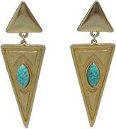 One Kings Lane Vintage Geometric Faux-Turquoise Earrings