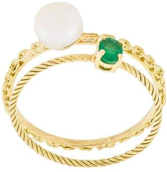 Wouters & Hendrix Gold Pearl & Emerald set of rings