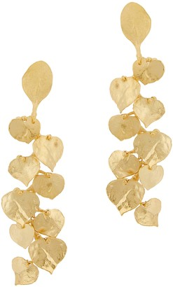 Kenneth Jay Lane Hammered leaf gold-tone drop earrings