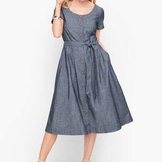 Talbots Denim Button Front Fit & Flare Dress