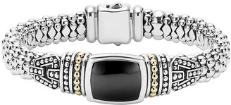Lagos Caviar Color Large Station Bracelet with Onyx