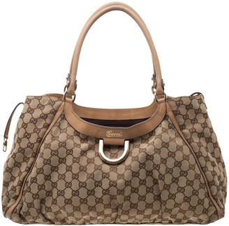 Gucci Beige/Tan GG Canvas and Leather D Ring Hobo