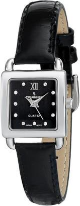 Peugeot Women's 3034BK Mini Square Silvertone Crystal Black Dial Leather Watch