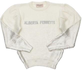 Alberta Ferretti Logo Wool Blend Knit Sweater