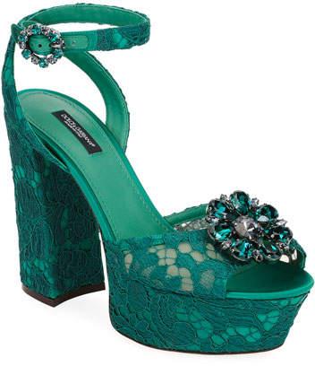 Dolce & Gabbana Embellished Lace Platform Sandal
