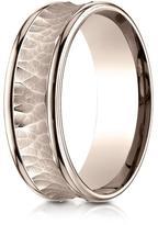 Ice 14K Rose Gold 7.5mm Comfort-Fit Concave Center Design Band Ring