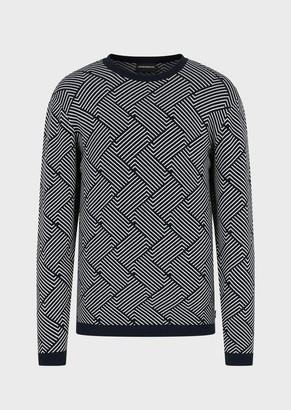 Emporio Armani Sweater With Jacquard Micro Pattern