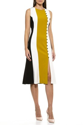 Alexia Admor Anna Colorblock Slit Midi Dress